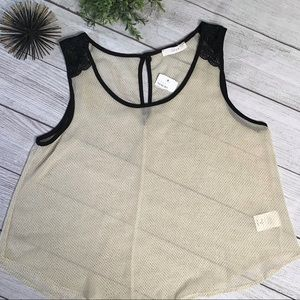 Lush Cream Tank Top with Black Lace & Polk Dots